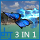 Blue Butterfly  Particle Trailing Flying Transtion 3 In 1 - VideoHive Item for Sale