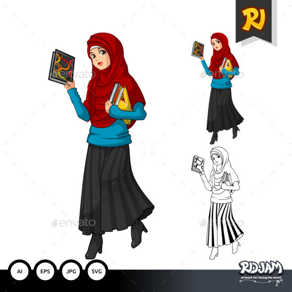 Muslim Woman Fashion Cartoon Character 7 - People Characters