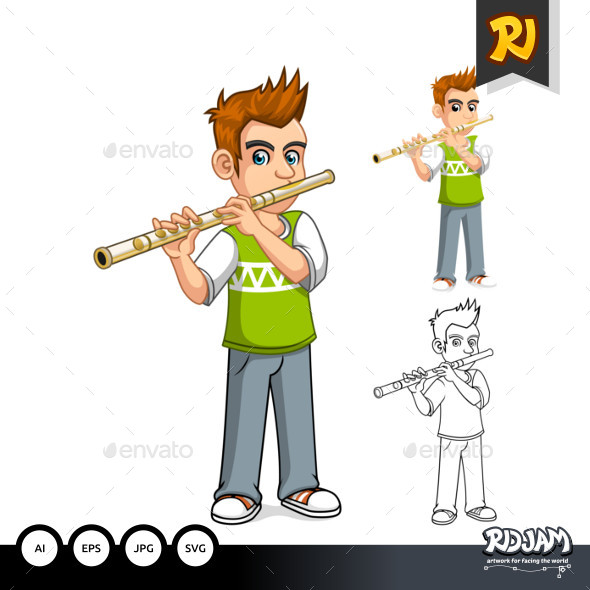 Boy Playing Flute Cartoon Character - People Characters