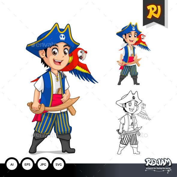 Kid Pirate Cartoon Character - People Characters