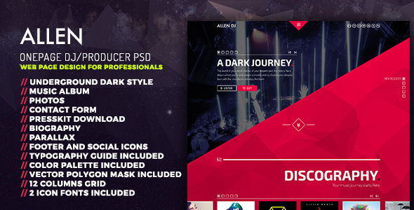 Allen: One Page professional PSD website template DJ, Producer and Musicians - Nightlife Entertainment