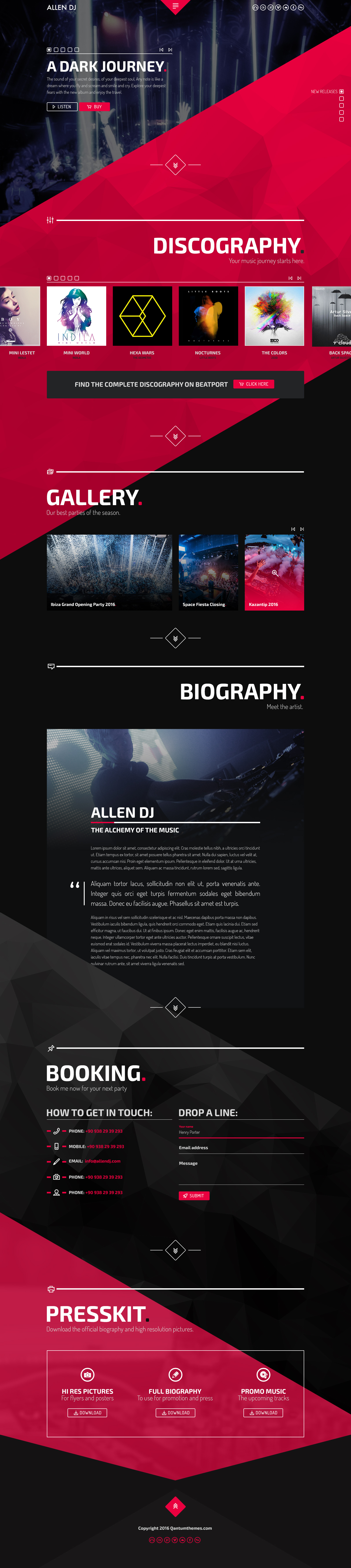 Allen: One Page professional PSD website template DJ, Producer and ...