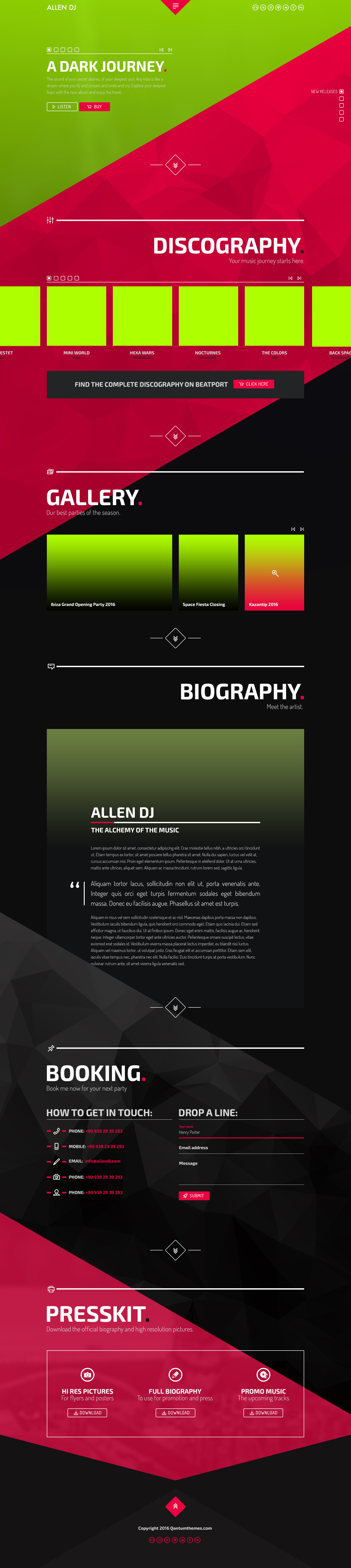 allen one page professional psd website template dj producer and musicians by qantumthemes. Black Bedroom Furniture Sets. Home Design Ideas