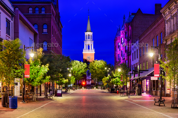 Church Street in Burlington, Vermont - Stock Photo - Images