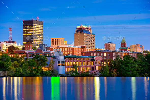 Manchester, New Hampshire Skyline - Stock Photo - Images