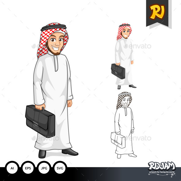 Middle Eastern Businessman Holding a Briefcase - People Characters