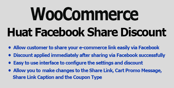 WooCommerce Facebook Share Discount Pro - CodeCanyon Item for Sale