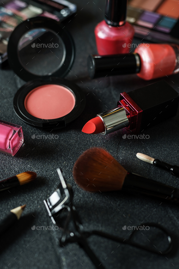 Various make-up products and cosmetics - Stock Photo - Images