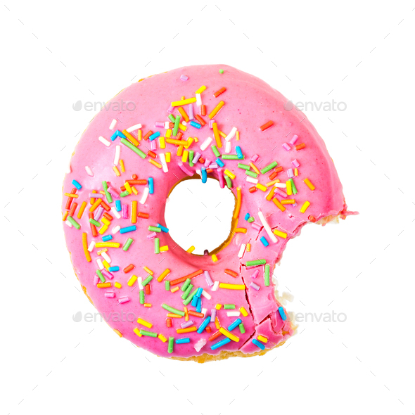 Bitten strawberry donut with colorful sprinkles. Top view. - Stock Photo - Images