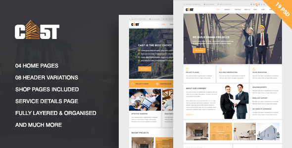CAST – A Construction & Business PSD Template