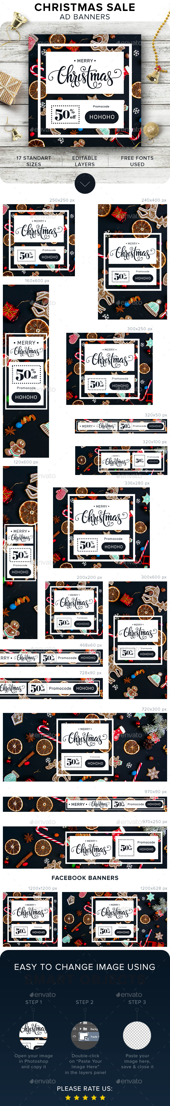 Merry Christmas Banners - Banners & Ads Web Elements