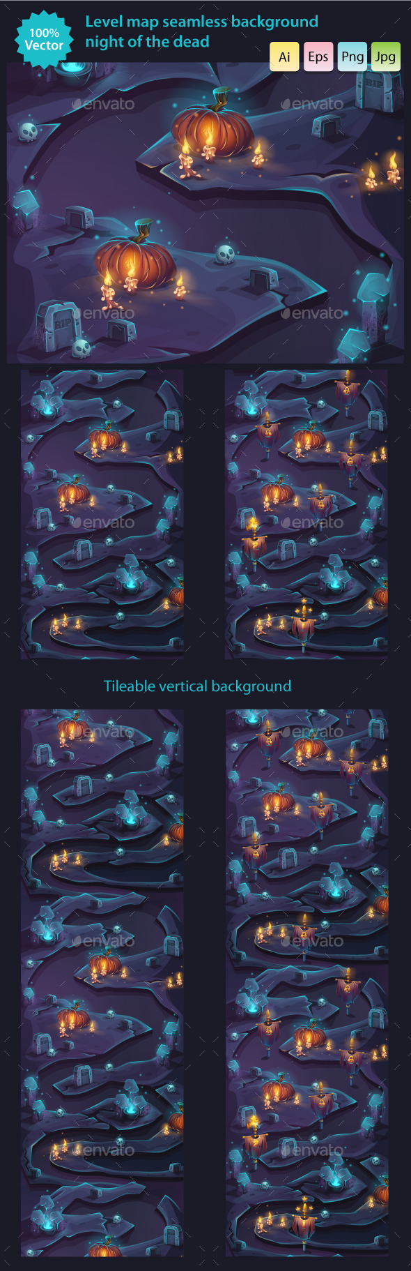 Night of the Dead - Seamless Background Level Map - Backgrounds Game Assets