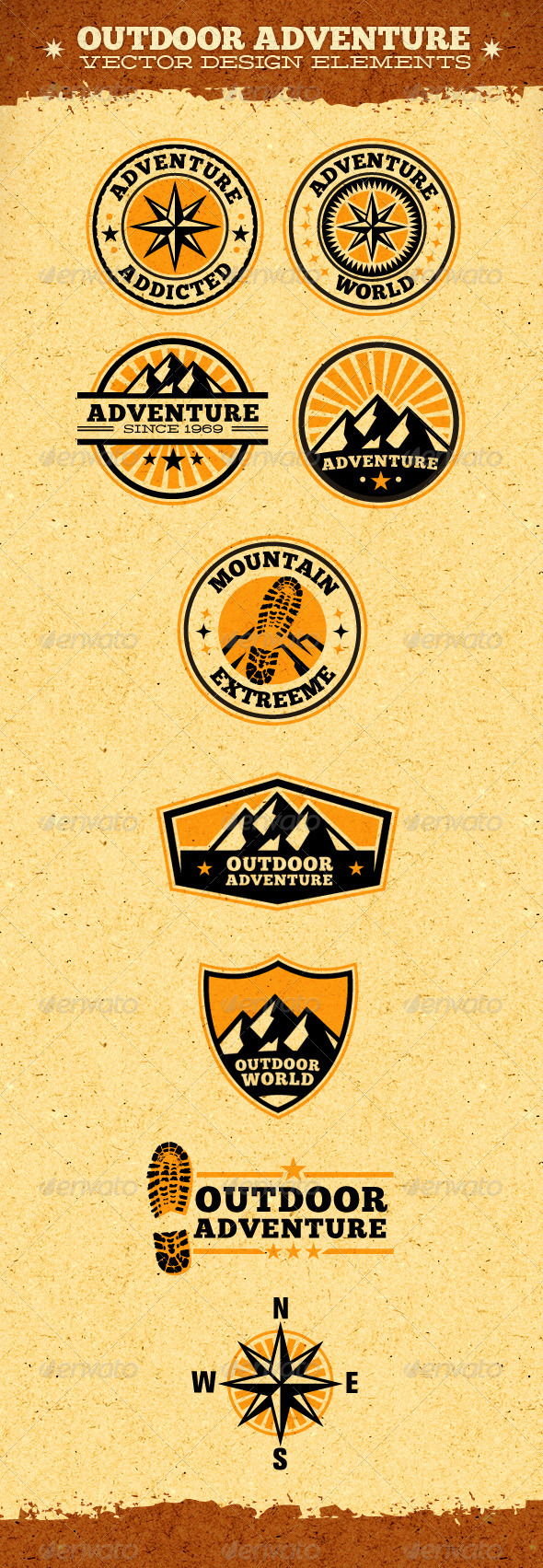 Outdoor Adventure Vector Design Elements - Travel Conceptual