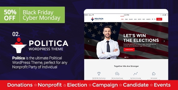 Political, Activism/Causes, Campaign, Election, Non-Profit, Charity & Donations – Politica Theme