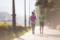 young multiethnic couple jogging in the city
