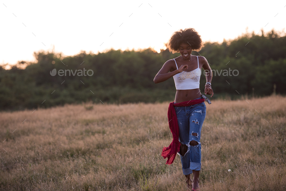 young black woman in nature - Stock Photo - Images