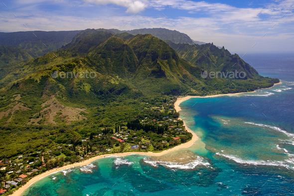 Aerial landscape view of shoreline at Na Pali coast, Kauai, Hawaii - Stock Photo - Images