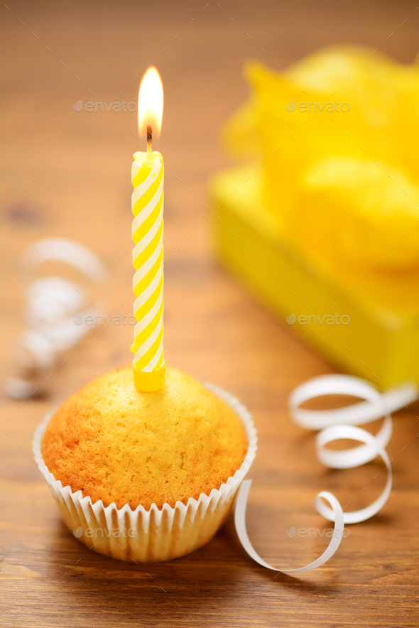 Birthday cake with candle - Stock Photo - Images