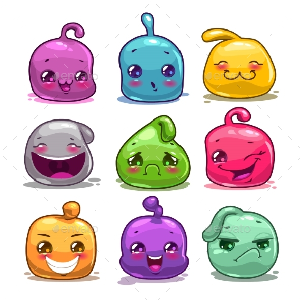 Cartoon Colorful Jelly Characters - Miscellaneous Game Assets