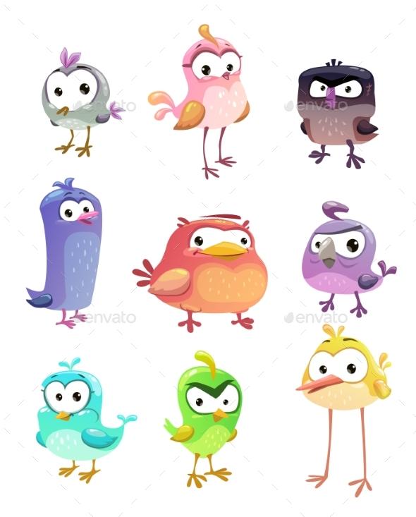 Funny Cartoon Standing Birds Set - Animals Characters