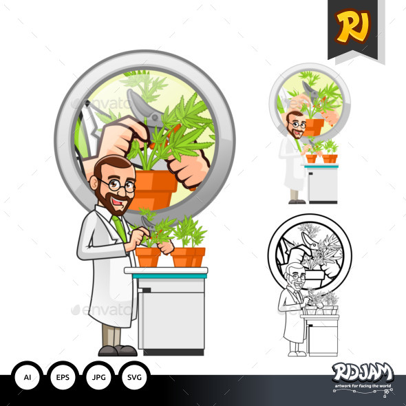Plant Scientist Cartoon Character Cutting a Leaf from a Plant - People Characters