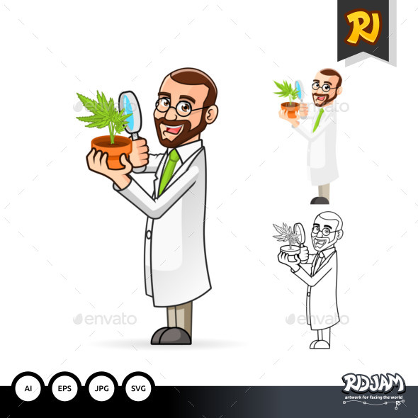 Plant Scientist Cartoon Character Inspecting The Roots of a Plant - People Characters