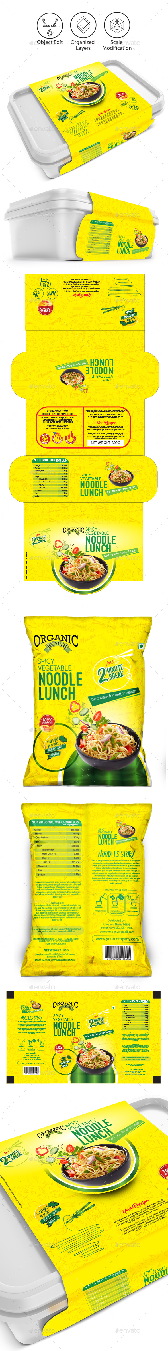 Noodles packaging templates - Packaging Print Templates