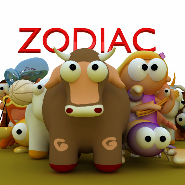 12 Zodiac Cartoon Models - 3DOcean Item for Sale