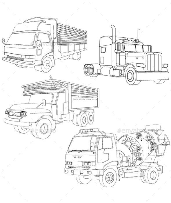 Truck Line Art - Man-made Objects Objects
