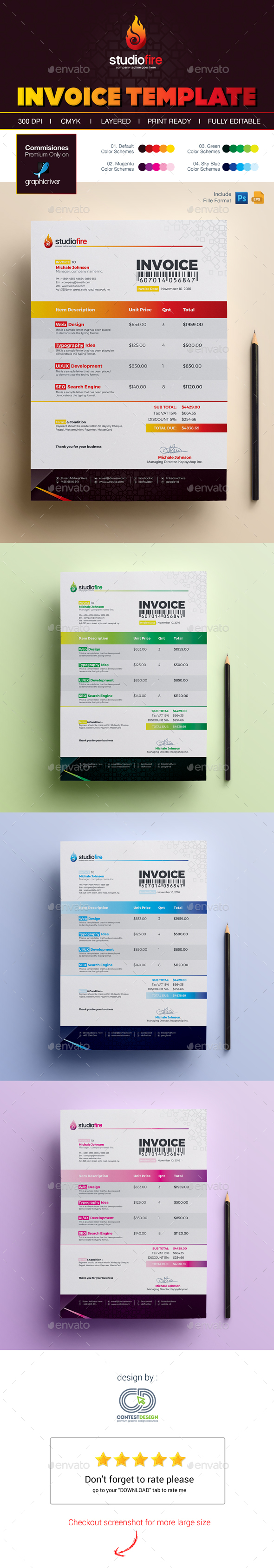 invoice template by contestdesign | graphicriver, Invoice templates