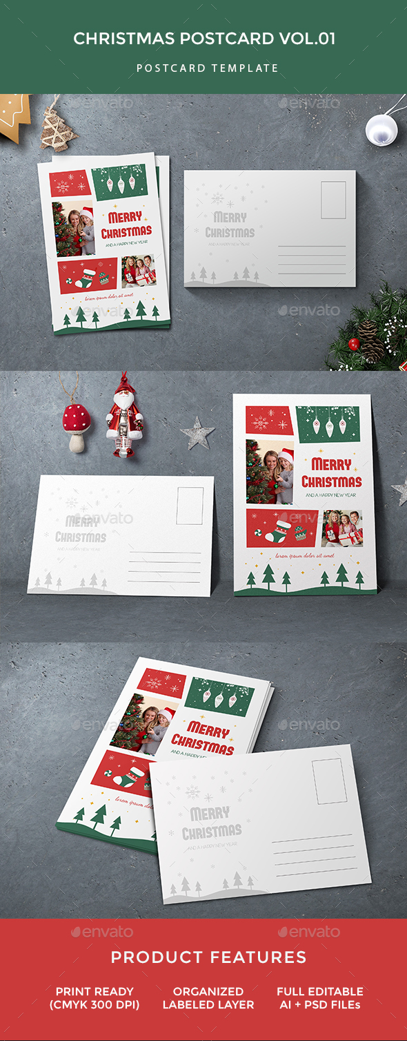 Christmas Postcard - Cards & Invites Print Templates