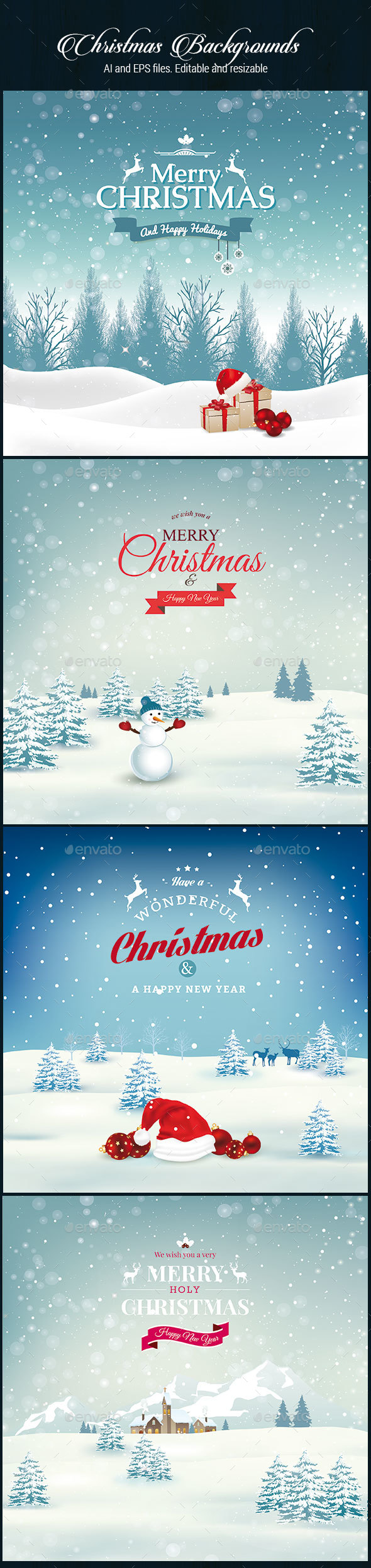 4 Christmas Backgrounds - Christmas Seasons/Holidays
