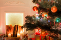 Christmas room interior design, decorated tree in garland lights - PhotoDune Item for Sale