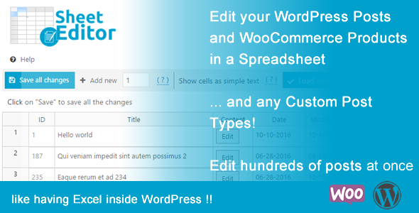 Bulk Edit WooCommerce Products and Posts in Spreadsheet - WP Sheet Editor - CodeCanyon Item for Sale