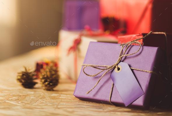 Beautiful christmas gift - Stock Photo - Images