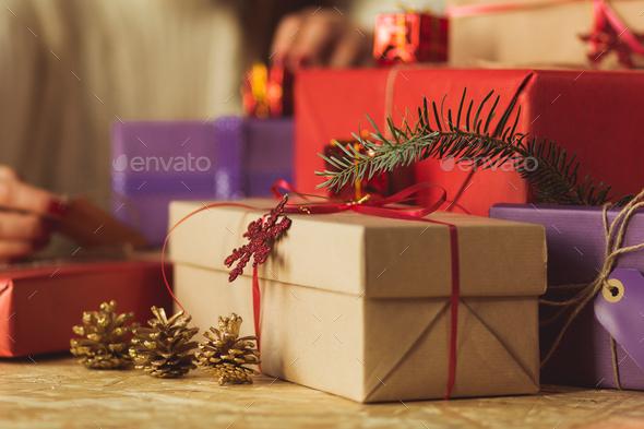 Presents under tree - Stock Photo - Images