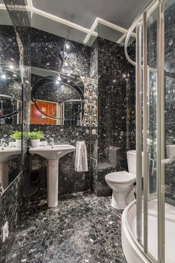 Grey marble bathroom with shower - Stock Photo - Images