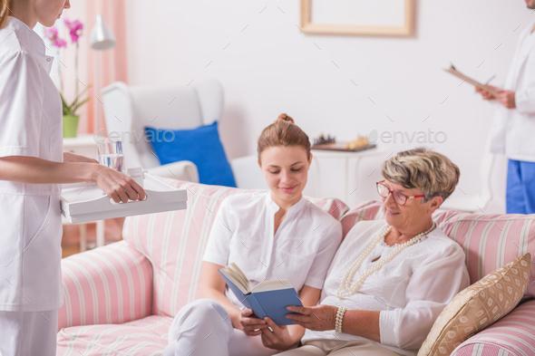 Nurse, caregiver and senior patient - Stock Photo - Images