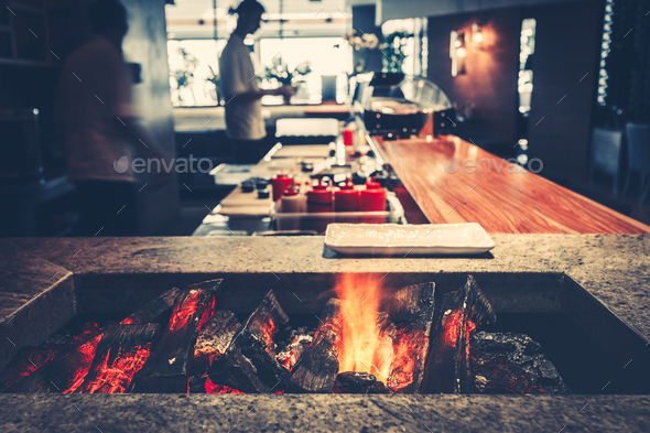 modern restaurant with fireplace - Stock Photo - Images
