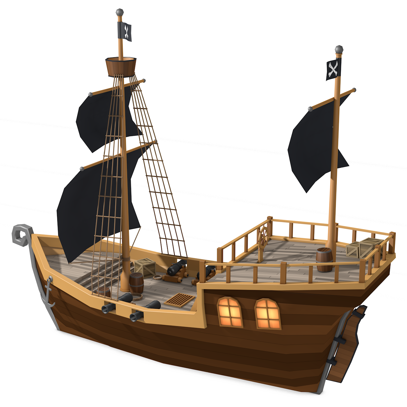 Low Poly Pirate Ship By Formd 3docean