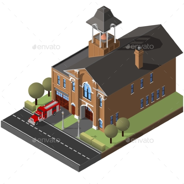 Isometric Firehouse and Firetruck. - Buildings Objects