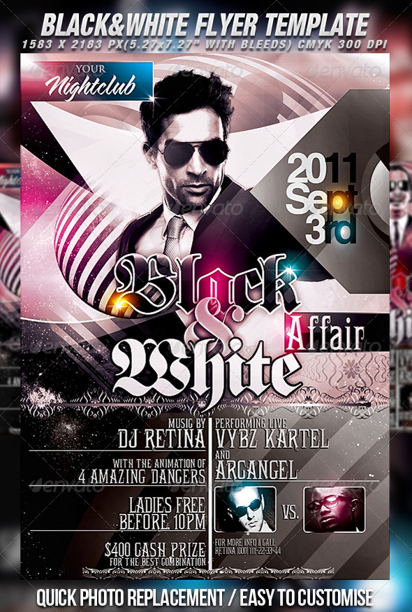 Black White Flyer Template By Mexelina GraphicRiver - Black and white flyer template free