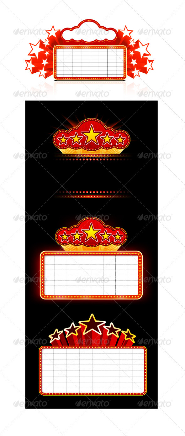 Showtime Retro Signs Set - Borders Decorative