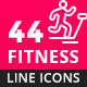 Fitness, Sport and Healthy Lifestyle Line Icons - GraphicRiver Item for Sale
