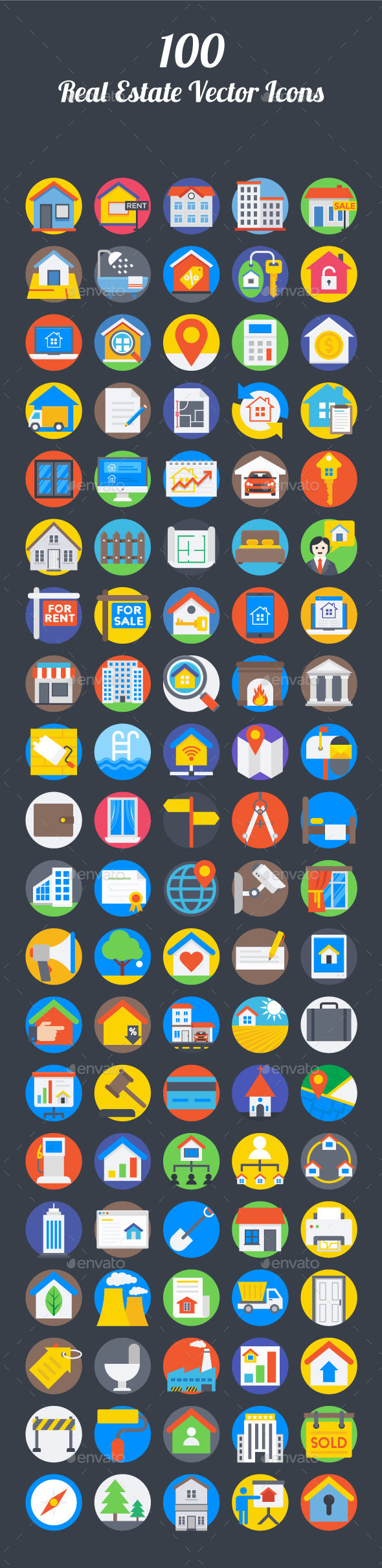 100 Real Estate Vector Icons - Icons