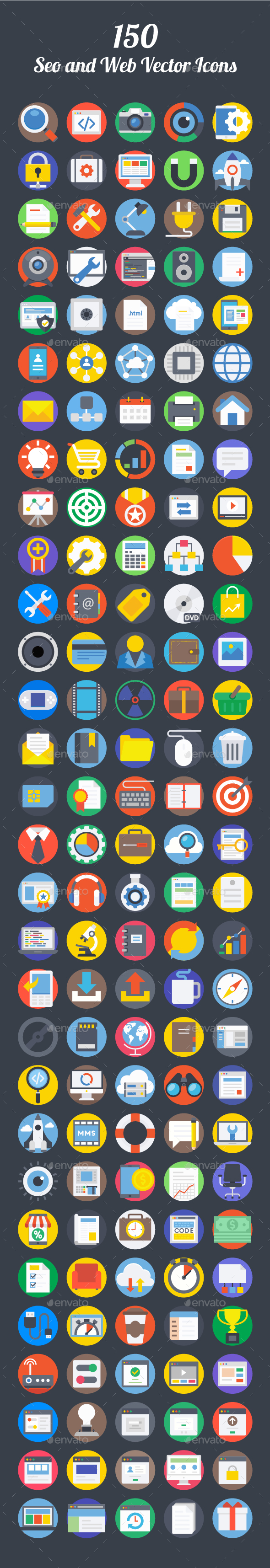 150 Seo and Web Vector Icons - Icons