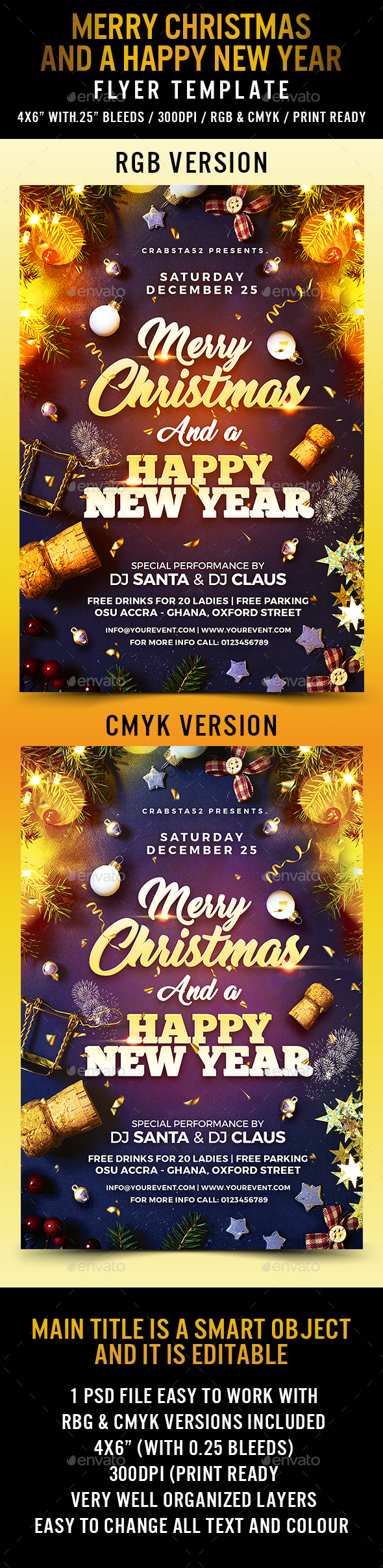 Merry Christmas and a Happy New Year Flyer - Holidays Events