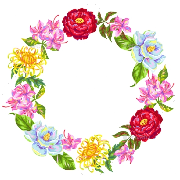 Wreath with China Flowers - Flowers & Plants Nature