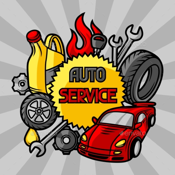 Car Repair Concept with Service Objects and Items - Industries Business