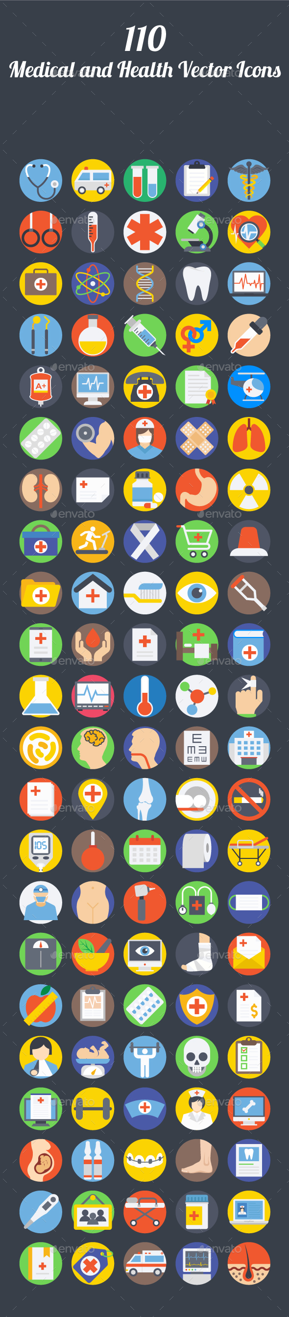 110 Medical and Health Vector Icons - Icons